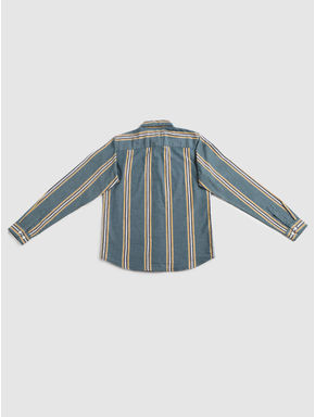 Junior Green Striped Full Sleeves Shirt