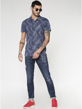 Blue All Over Print Polo Neck T-shirt