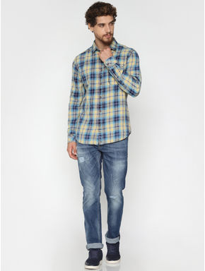 Yellow Check Full Sleeves Shirt