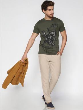 Beige Linen Chino Pants