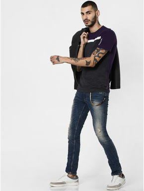 Blue Low Rise Distressed Ben Skinny Jeans