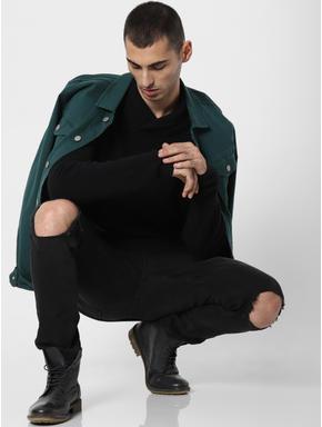 Black Shawl Neck Pullover