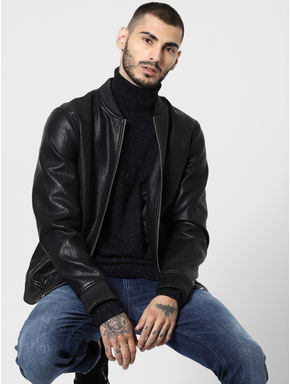 Black Printed Turtle Neck Pullover