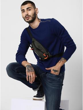 Blue Textured Zip Detail Sweatshirt