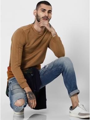 Brown Textured Zip Detail Sweatshirt