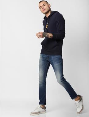 Navy Blue Hooded Sweatshirt