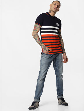 Navy Blue Striped Polo Neck T-shirt