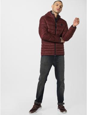 Burgundy Hooded Puffer Jacket