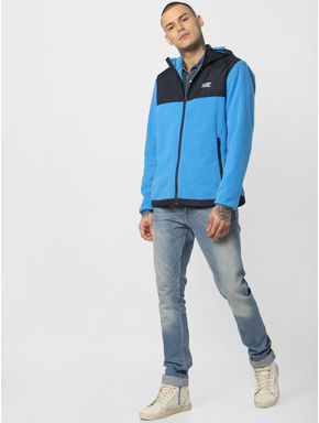 Blue Hooded Fleece Jacket