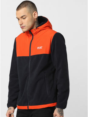 Orange Hooded Fleece Jacket