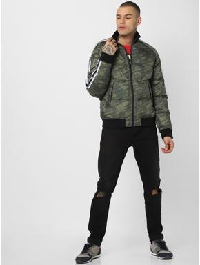 Green Camo Print Puffer Jacket
