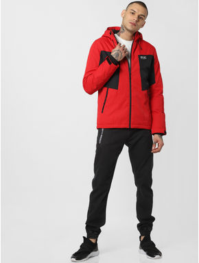 Red Zip Up Hooded Jacket