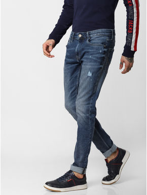 Dark Blue Low Rise Liam Skinny Fit Jeans