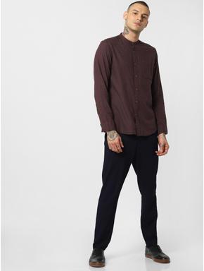 Burgundy Linen Full Sleeves Shirt