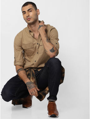 Brown Button Down Full Sleeves Shirt