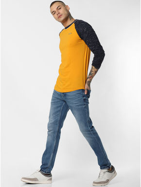 Yellow Colourblocked Crew Neck T-shirt