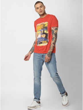 Red Graphic Print Crew Neck T-shirt
