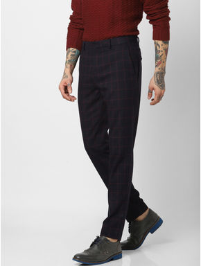 Navy Blue Check Slim Fit Trousers