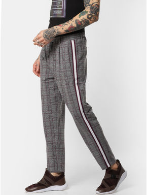 Burgundy Check Drawstring Pants
