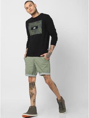 Black Camo Patch Print Sweatshirt