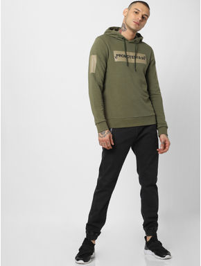 Green Patch Print Hooded Sweatshirt