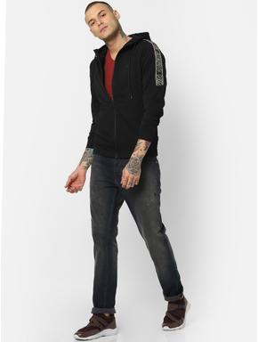 Black Tape Detail Hooded Sweatshirt