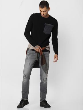 Black Patch Pocket Pullover