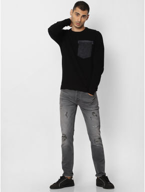 Black Patch Pocket Pullover