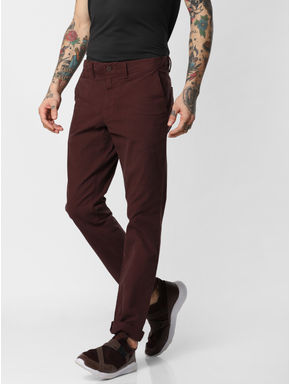Burgundy Slim Fit Pants