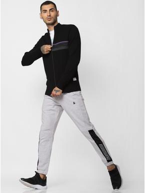 Black High Neck Zipped Cardigan