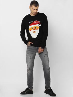 Black Santa Graphic Print Pullover