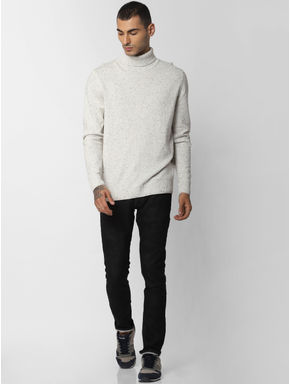 White Printed High Neck Pullover