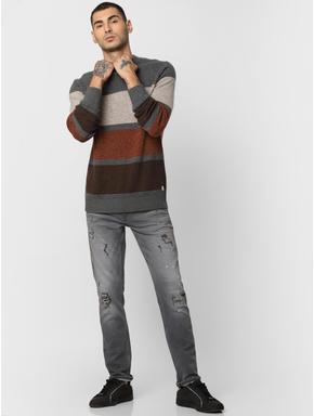 Grey Colourblocked Pullover