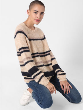 Light Brown Striped Pullover