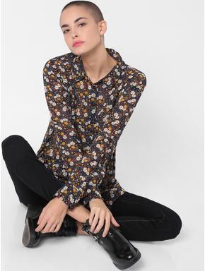 Blue Floral Print Asymmetric Shirt