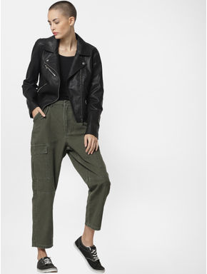 Green Mid Rise Cargo Pants