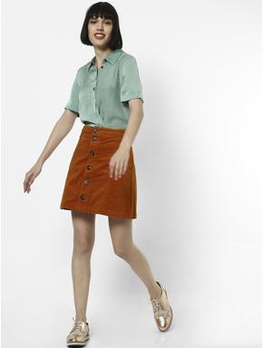 Brown Button Down Corduroy Skirt