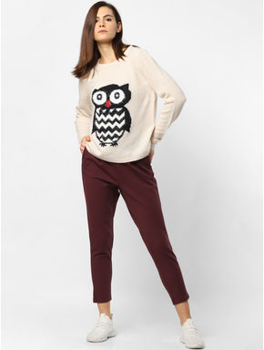 Cream Owl Graphic Print Pullover