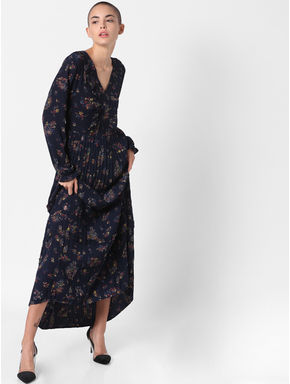 Navy Blue Floral Print Maxi Dress