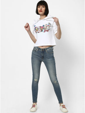Blue Mid Rise Knee Ripped Skinny Jeans