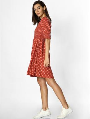 Rust Polka Dot Smock Mini Dress