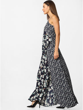 Blue Floral Print Wrap Maxi Dress