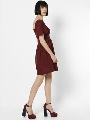 Burgundy Lace Smock Mini Dress