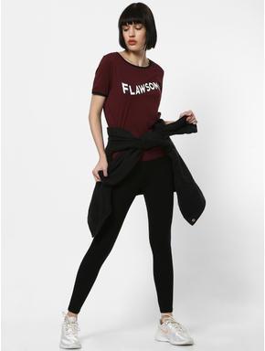 Burgundy Flawsome Text Print T-shirt