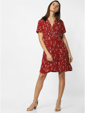 Maroon Floral Print Fit & Flare Dress
