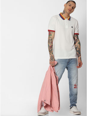 White Contrast Tipping Polo Neck T-shirt