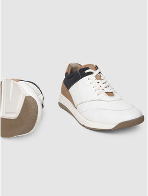 White Colourblocked Leather Sneakers