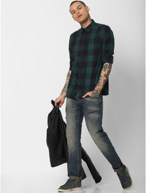 Green Check Full Sleeves Shirt