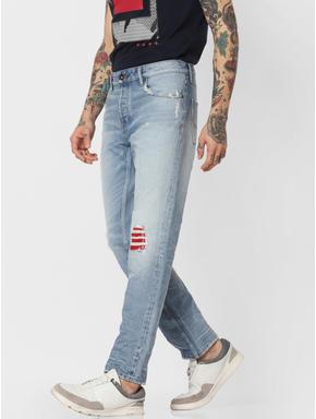 Light Blue Ripped Tim Slim Fit Jeans