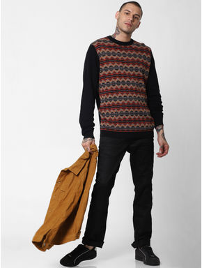 Black Striped Print Pullover